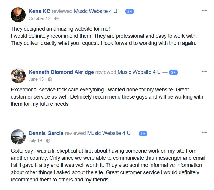 Music Web Design Testimonials